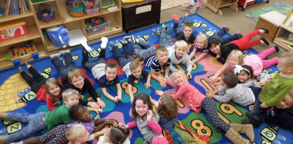 Early childhood education students in class at Honeytree Academy in Wichita, Kansas
